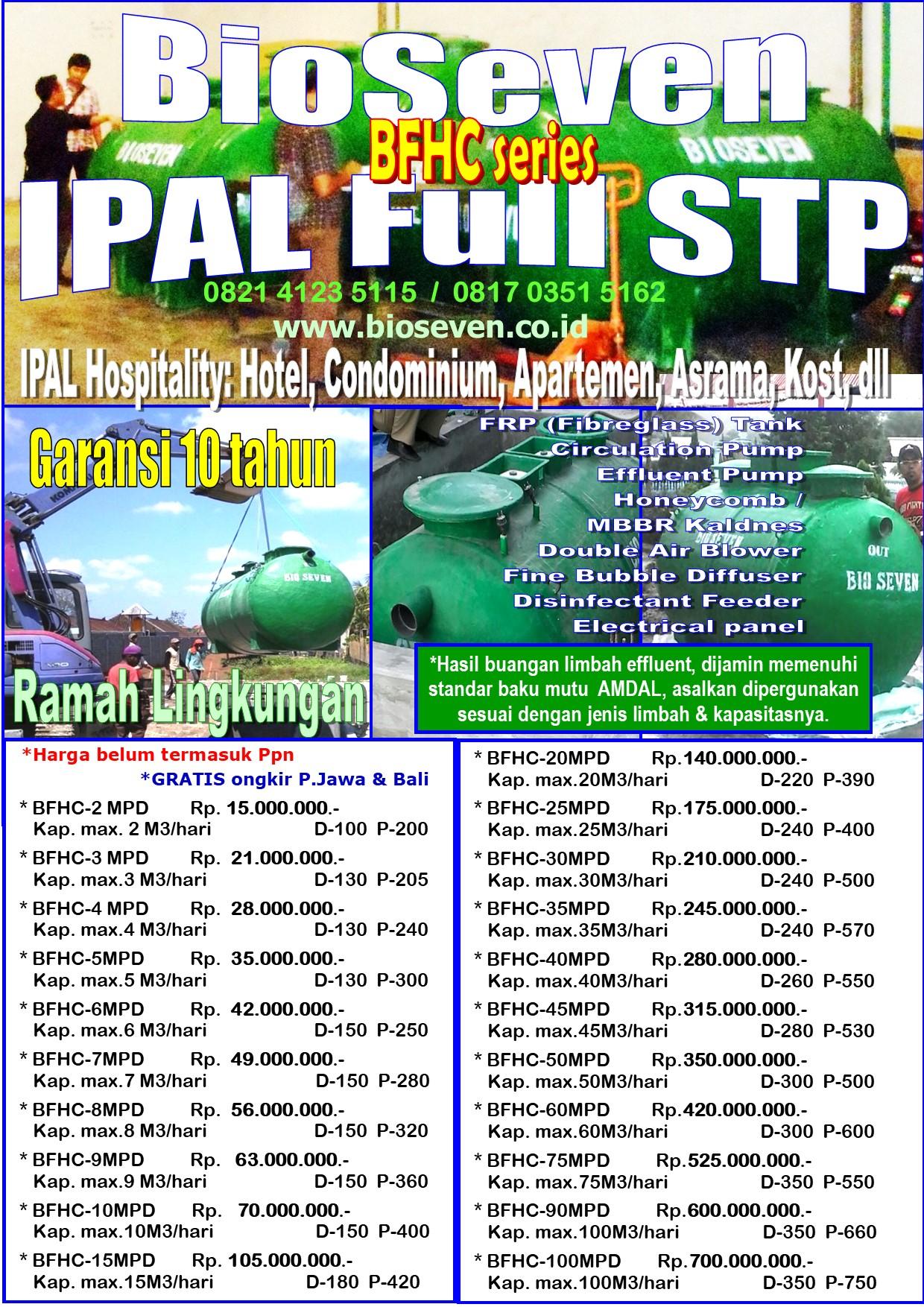 IPAL Bio FULL STP Anaerob + FULL Aerob - DOUBLE Blower & Pump (BFHC series)  - untuk mengolah Limbah Hospitality (msl. Hotel, Condotel, Condominium, Apartemen, Villatel, Dormatori, dll)