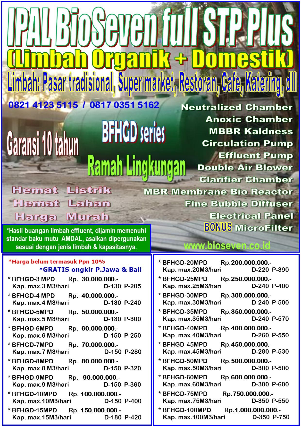 IPAL Organik + Domestik Aerob & Anaerob - Double Blower (BFHG series)- untuk mengolah Limbah Organik + Domestik (Msl.Pemotongan Hewan,Pasar,Pelelangan Ikan,Cafe,Restoran,Pabrik Tahu/Tempe,Pabrik Roti/Bakery,Katering,dll Plus Limbah Domestik dari Kloset / Septic tank)