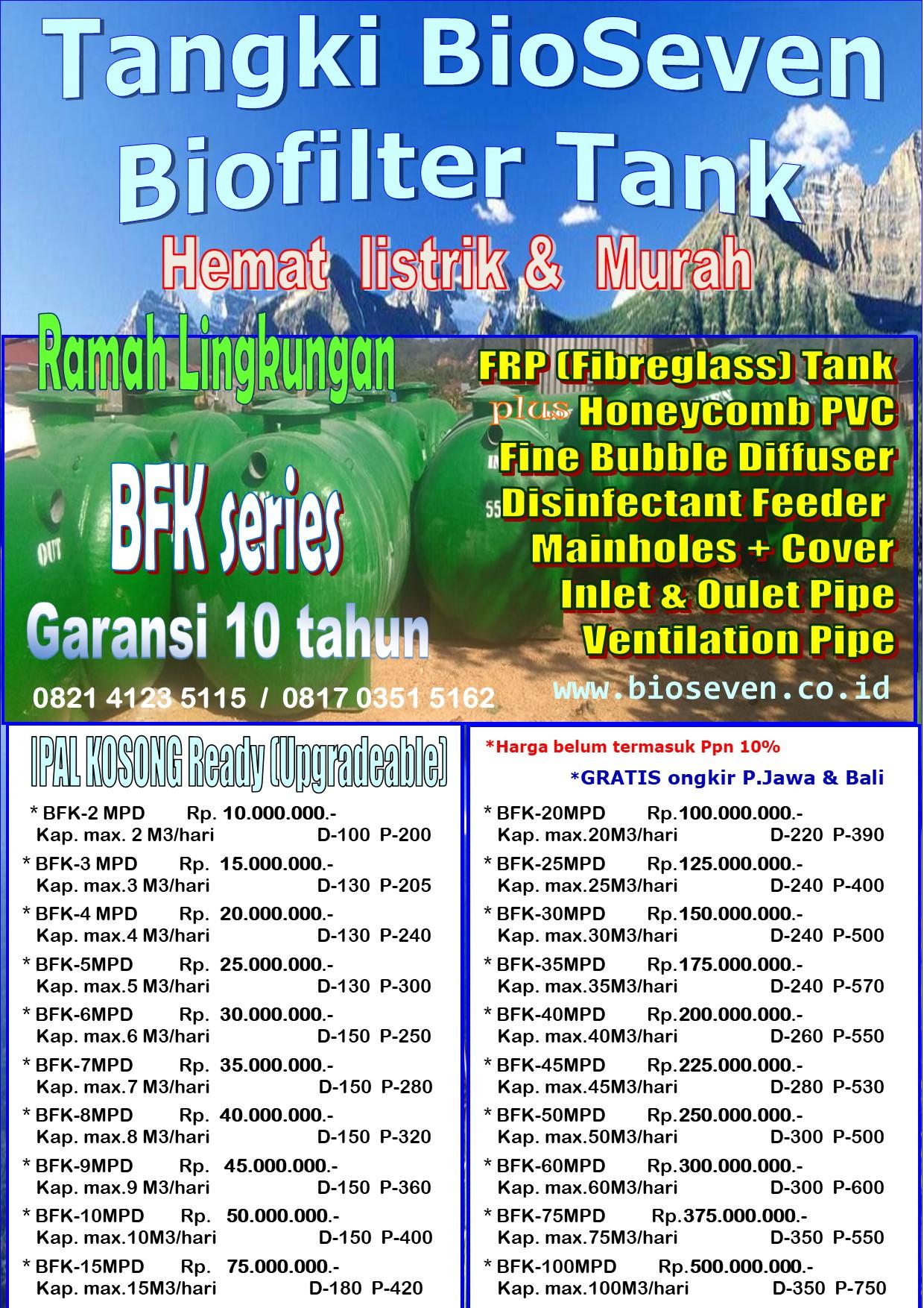 Biofilter Tank Aerob Upgradable (BFK series)  - untuk mengolah  Limbah Semi Komersial (msl. Ruko, Gudang, Kantor, dll)